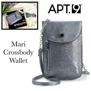 Just In! NWT Apt 9 Mari Crossbody Wallet, Pewter